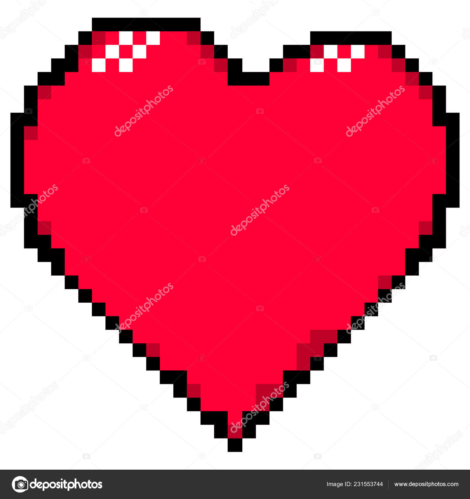 Red Heart Created Style Pixel Art Design Graphic Element