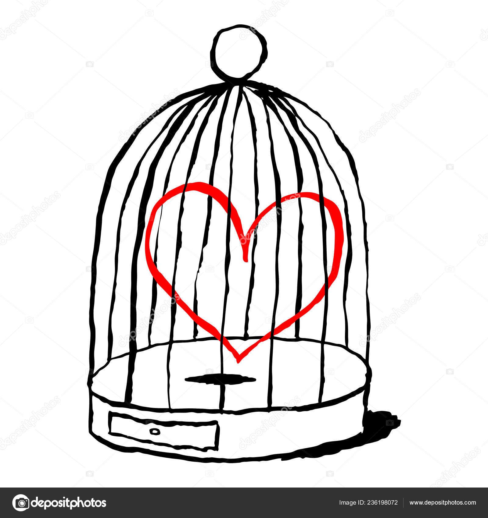 Rotes Herz Ist Traurig Vogel Kafig Isoliert Auf Weissem Hintergrund
