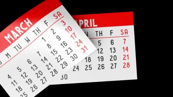 3D kalendář na černém pozadí