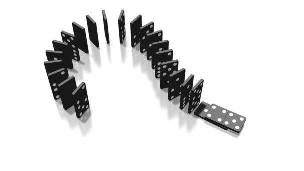 3D domino efekt animace - otazník koncept - kamery následující.