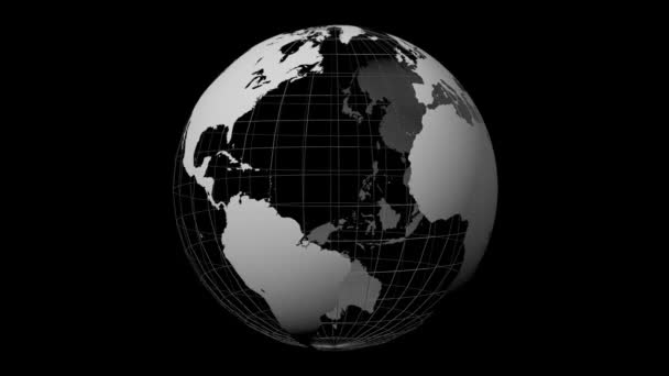 3D animation/ 3D rendering - Earth with all continents (Europe, Asia, Africa, South America, North America, Australia) on black background.