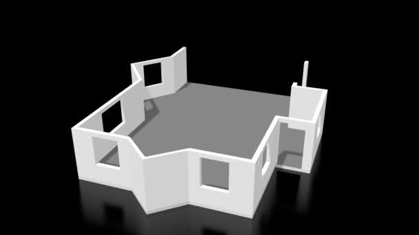 3D house construction animation, black background.