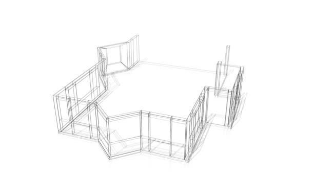 3D dům stavba - drátěný model