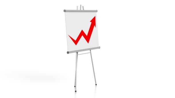 3D grafu růstu / board na bílém pozadí.
