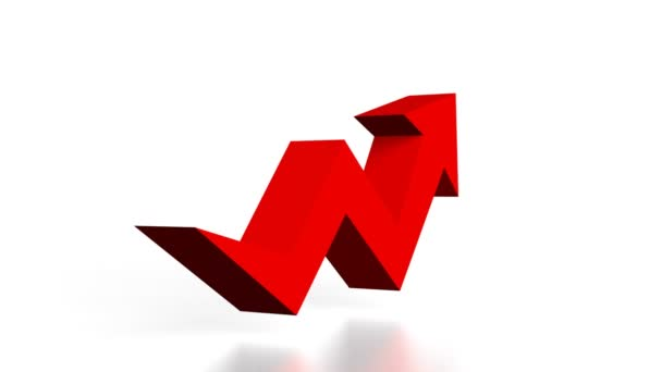 3D red upwards arrow on white background - great for topics like growth, success etc.