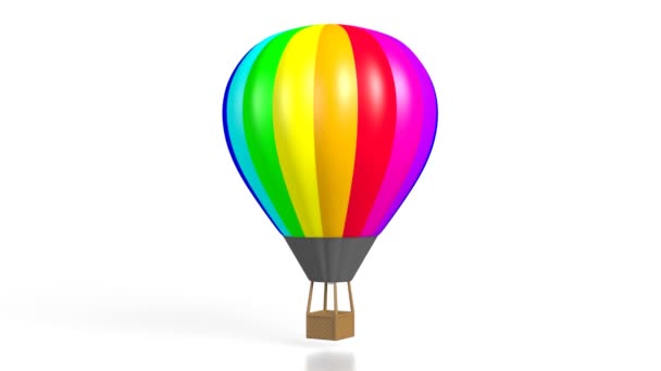 3D colorful hot air balloon on white background.