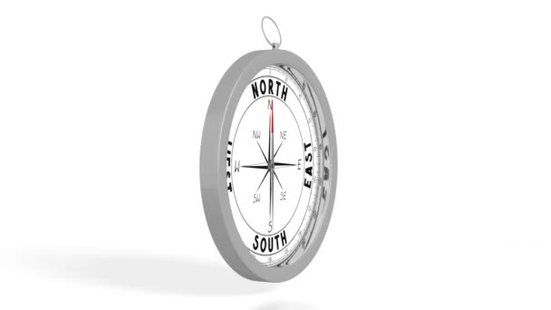 3D rotating compass on white background - great for topics like traveling etc.
