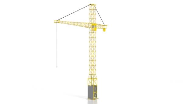 3D construction crane, white background.