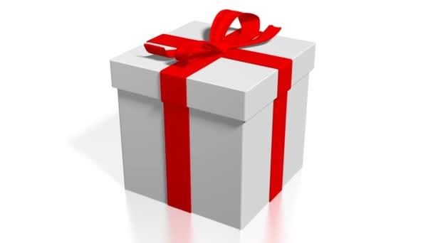 3D-s ajándék doboz, fehér háttér - nagy témák, mint meglepő, születésnap, karácsony stb.