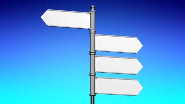 3D signpost (roadsign) with four arrows on black background - animation