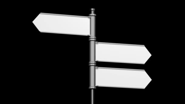 3D signpost (roadsign) with three arrows on black background - animation