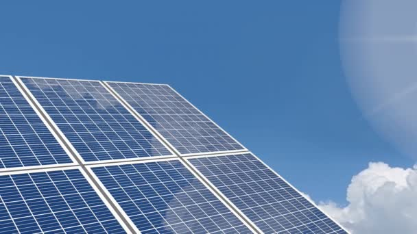 3D animation - solar panels, sky and sun - great for topics such as alternative/ renewable energy, environment etc.