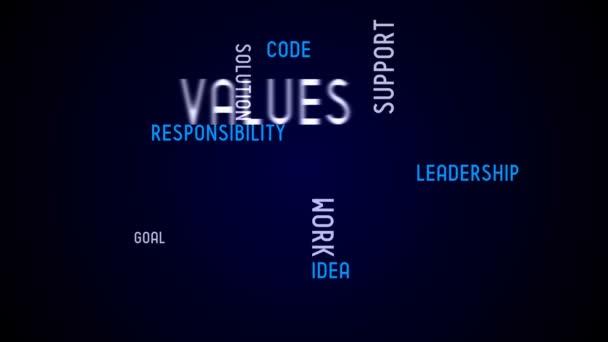 Values - typography, animation, black background.