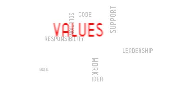 Values - typography, animation, white background.