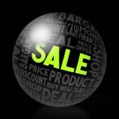 Prodejní koncept - tvar koule, černém pozadí.
