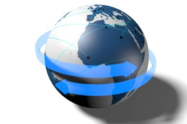 3D Earth/ globe illustration - isolated on white background.