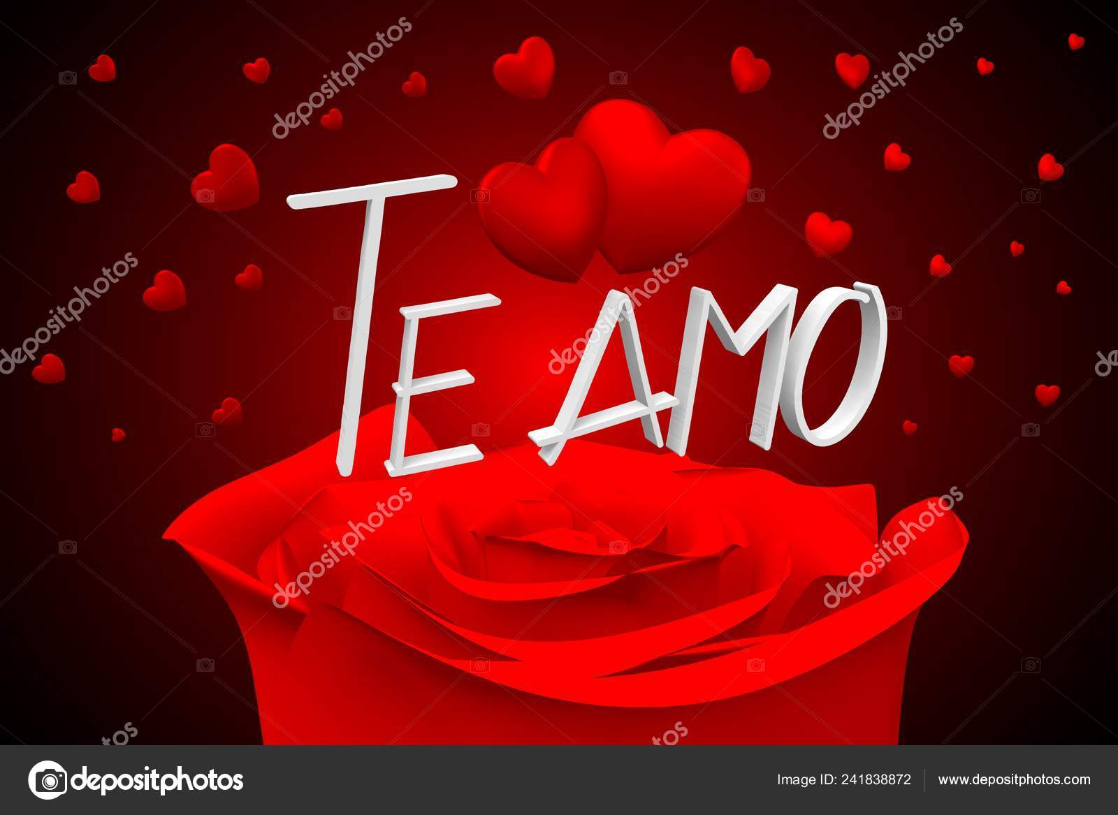 Illustration Hearts Roses Amo Italian Love You English Stock Photo C 3d Generator 241838872
