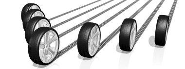3D wheels, tires - illustration