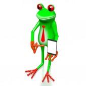 3D-Frosch mit Tablet / Smartphone