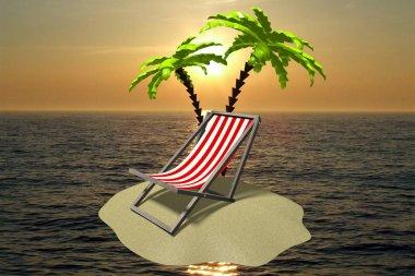 3D desert island concept