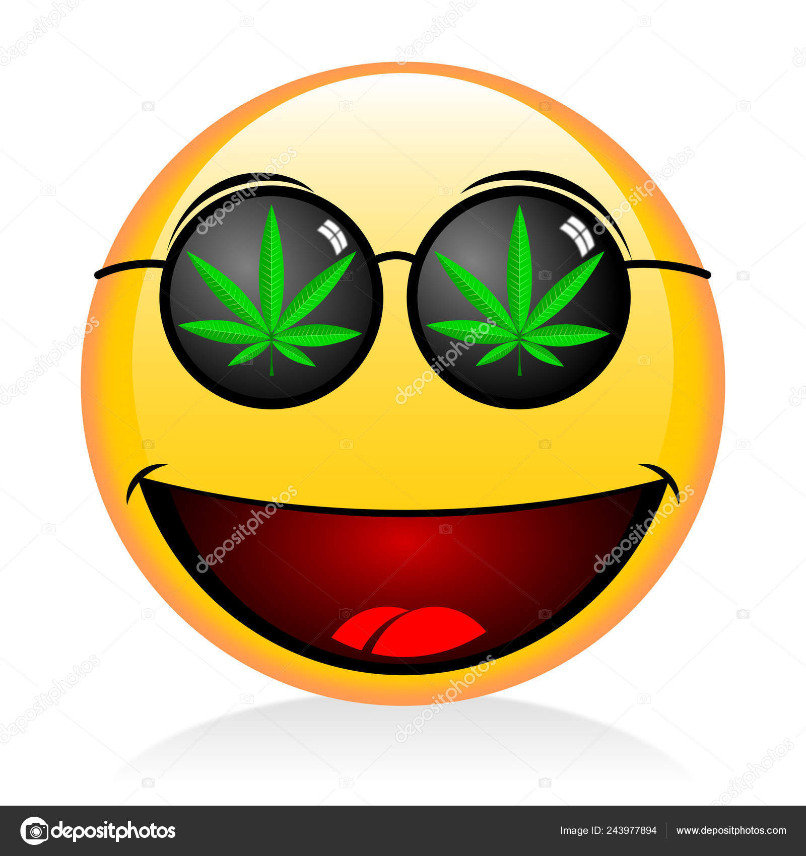 Emoji Smoking Weed Funny Face — Stock Photo © 3d_generator #243977894