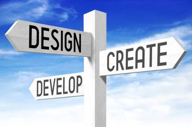 Design, create, develop - signpost