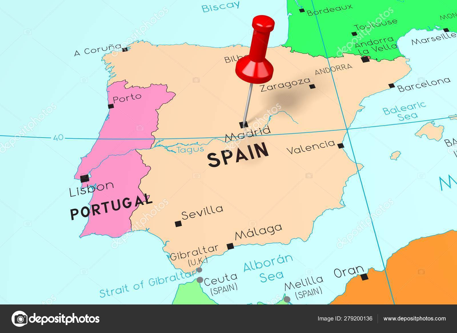 Spain Madrid Capital City Pinned On Political Map Stock