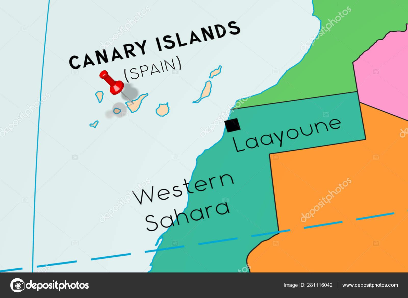 Mapa Politico De Canarias.Islas Canarias Espana Anclado En El Mapa Politico Foto
