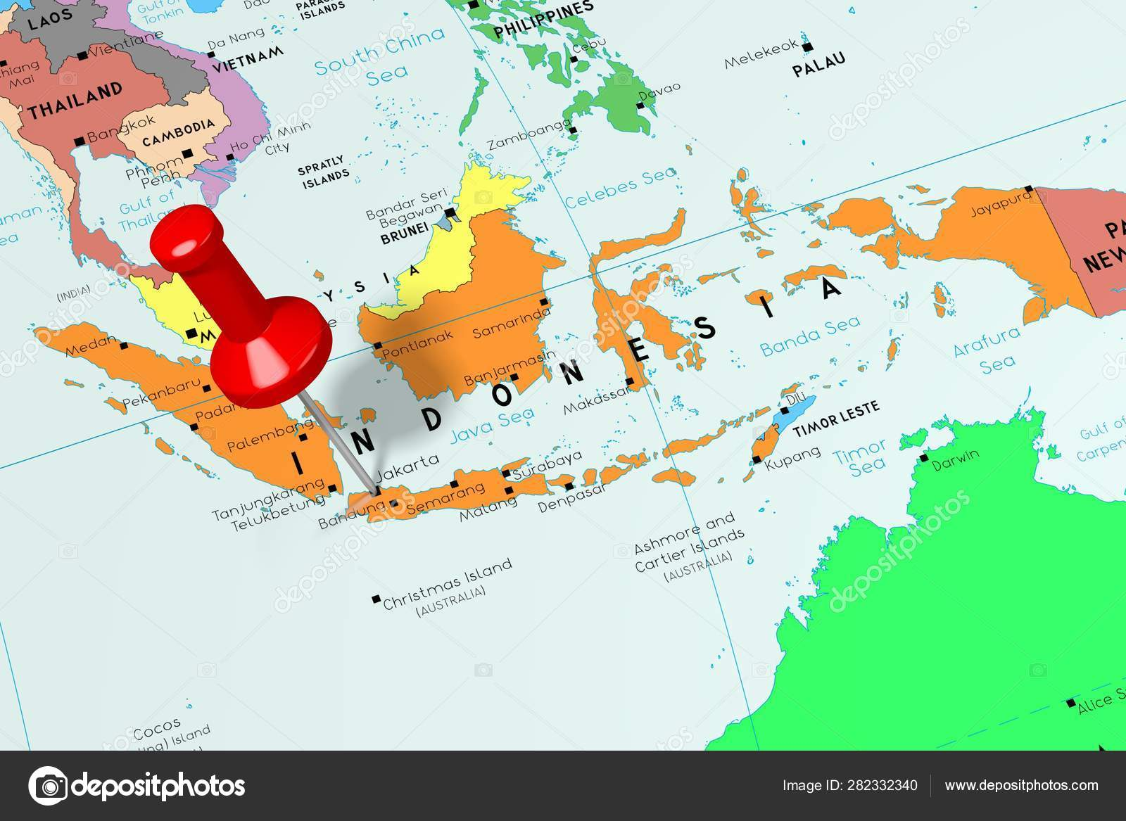 Indonesia, Jakarta - capital city, pinned on political map ...