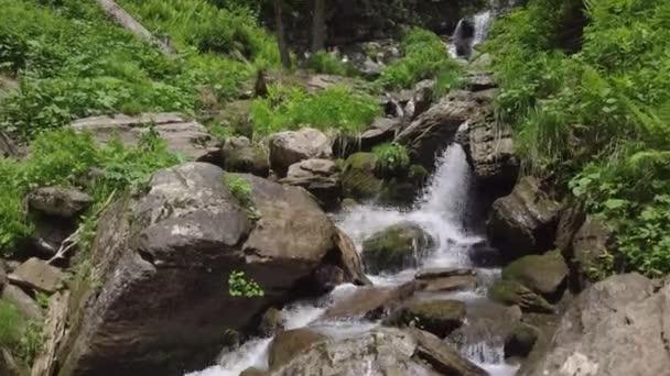 Close up of falling water at waterfalls