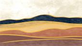 Abstraktní horská krajina, Přírodní krajina pozadí. Kreativní minimalistický ručně malovaný design pro dekoraci stěn, pohlednice nebo brožuru design.vector ilustrace.