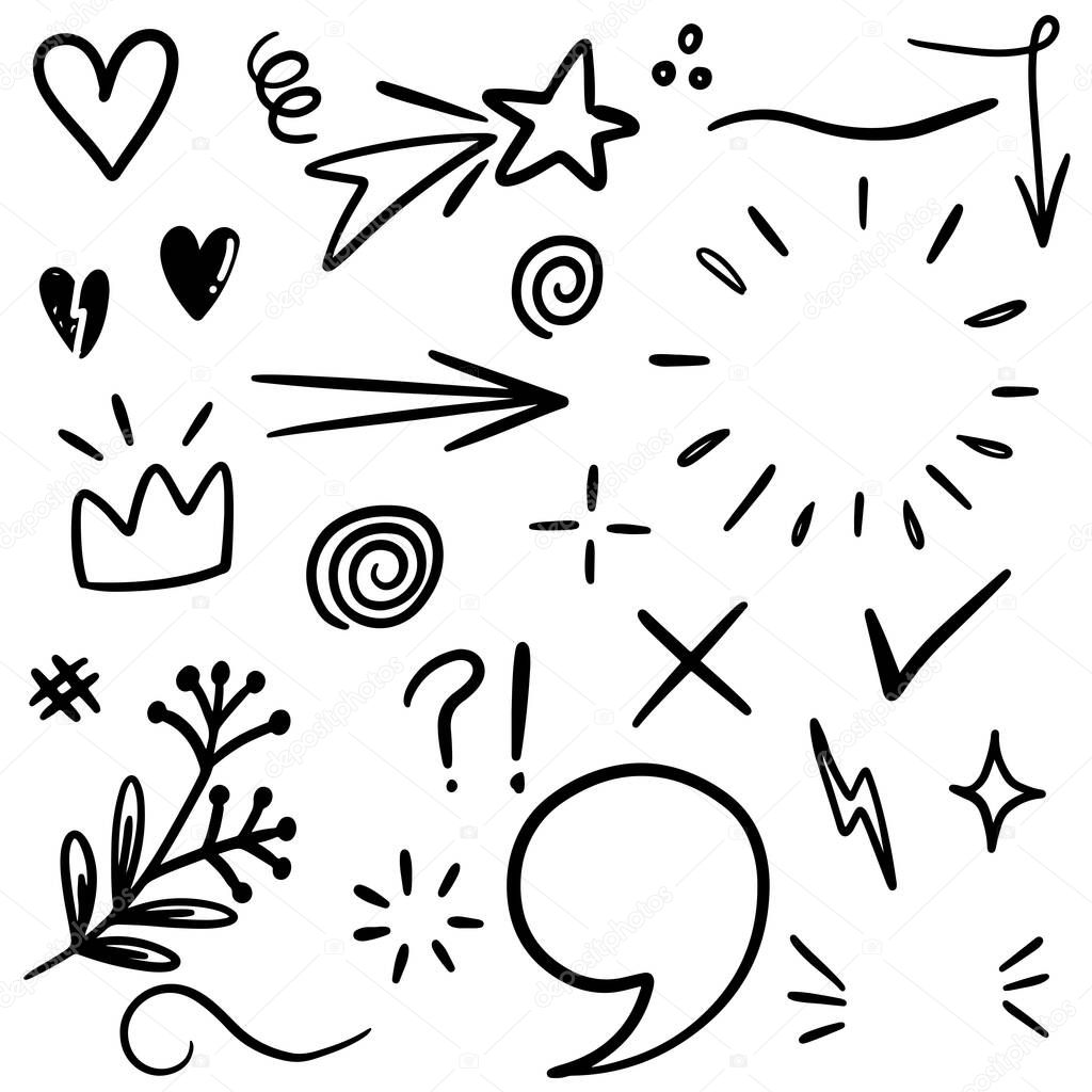 Hand drawn set elements, black on white background. Arrow, heart, love, speech bubble, star, leaf,light,check marks ,crown, king, queen,Swishes, swoops, emphasis ,swirl, for concept design. icon