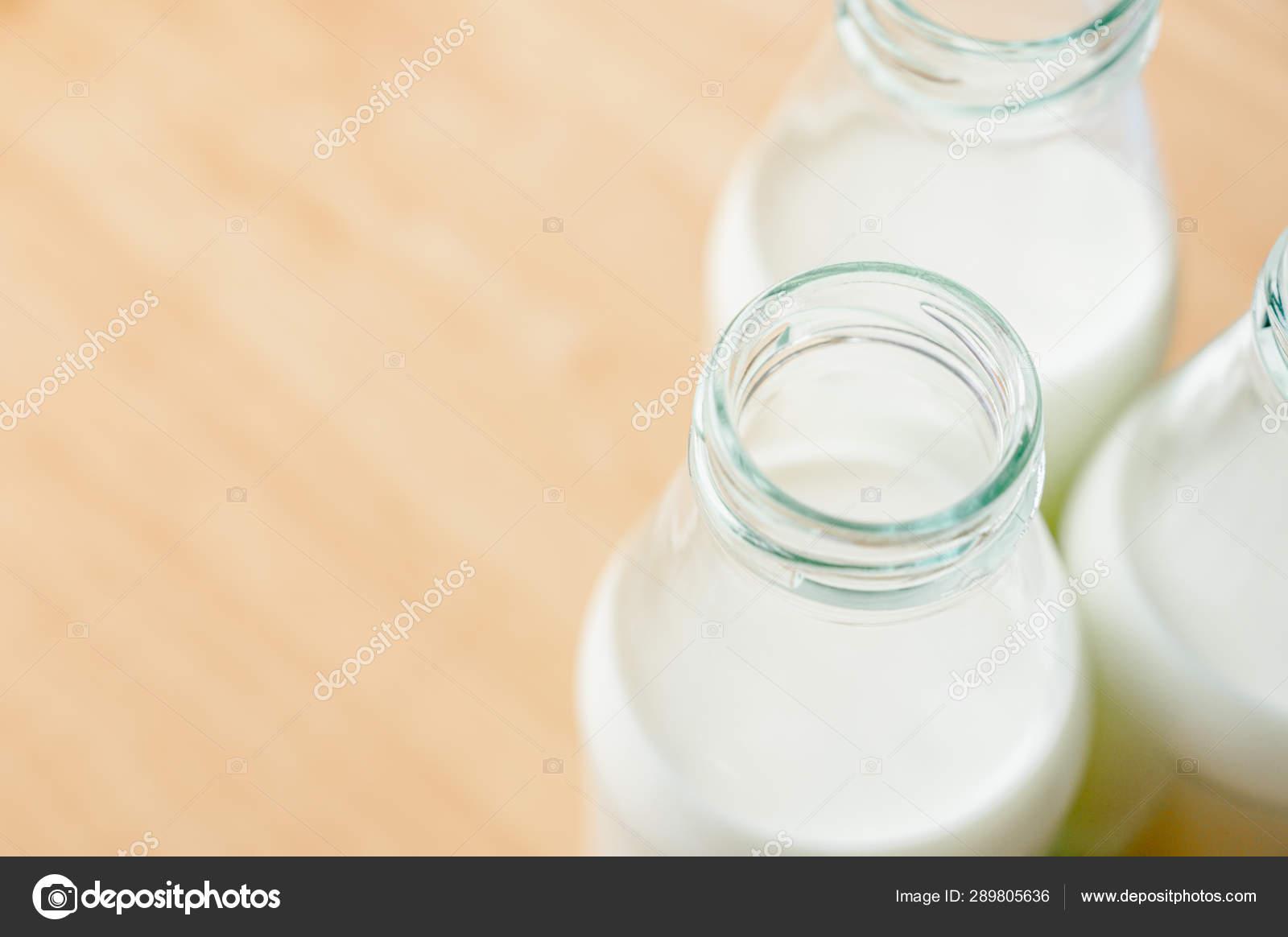 Fresh Milk Bottles Cap Wooden Table Window Healthy Drink Concept Stock Photo C Supawitsre 289805636