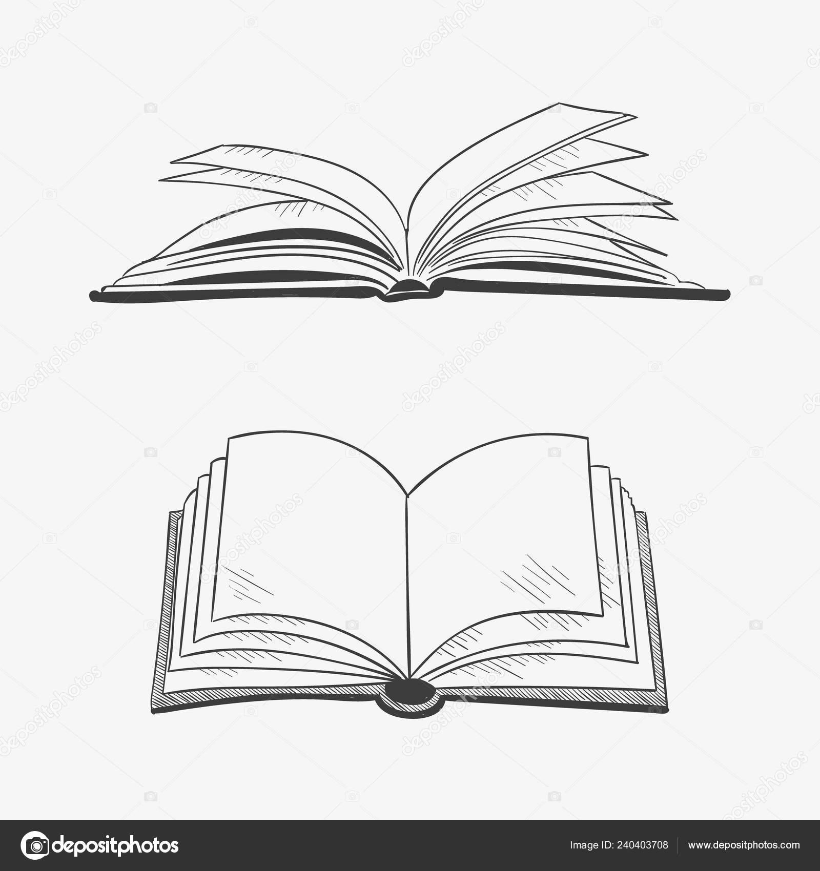 Livre Ouvert Isole Sur Fond Blanc Illustration Vecteur