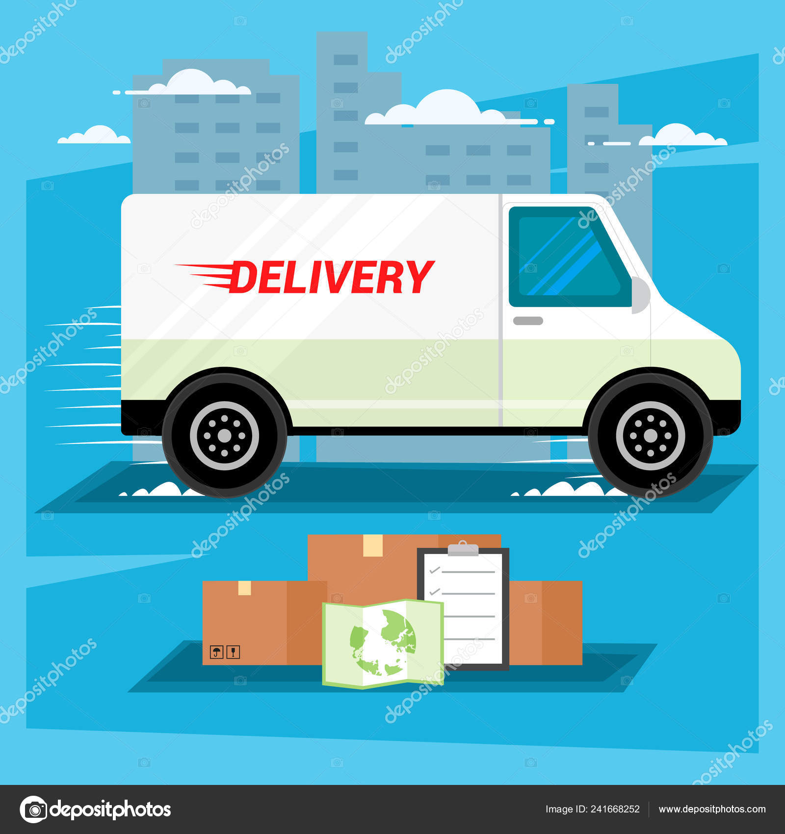 Delivery car city background design Royalty Free Vector | 1700x1600