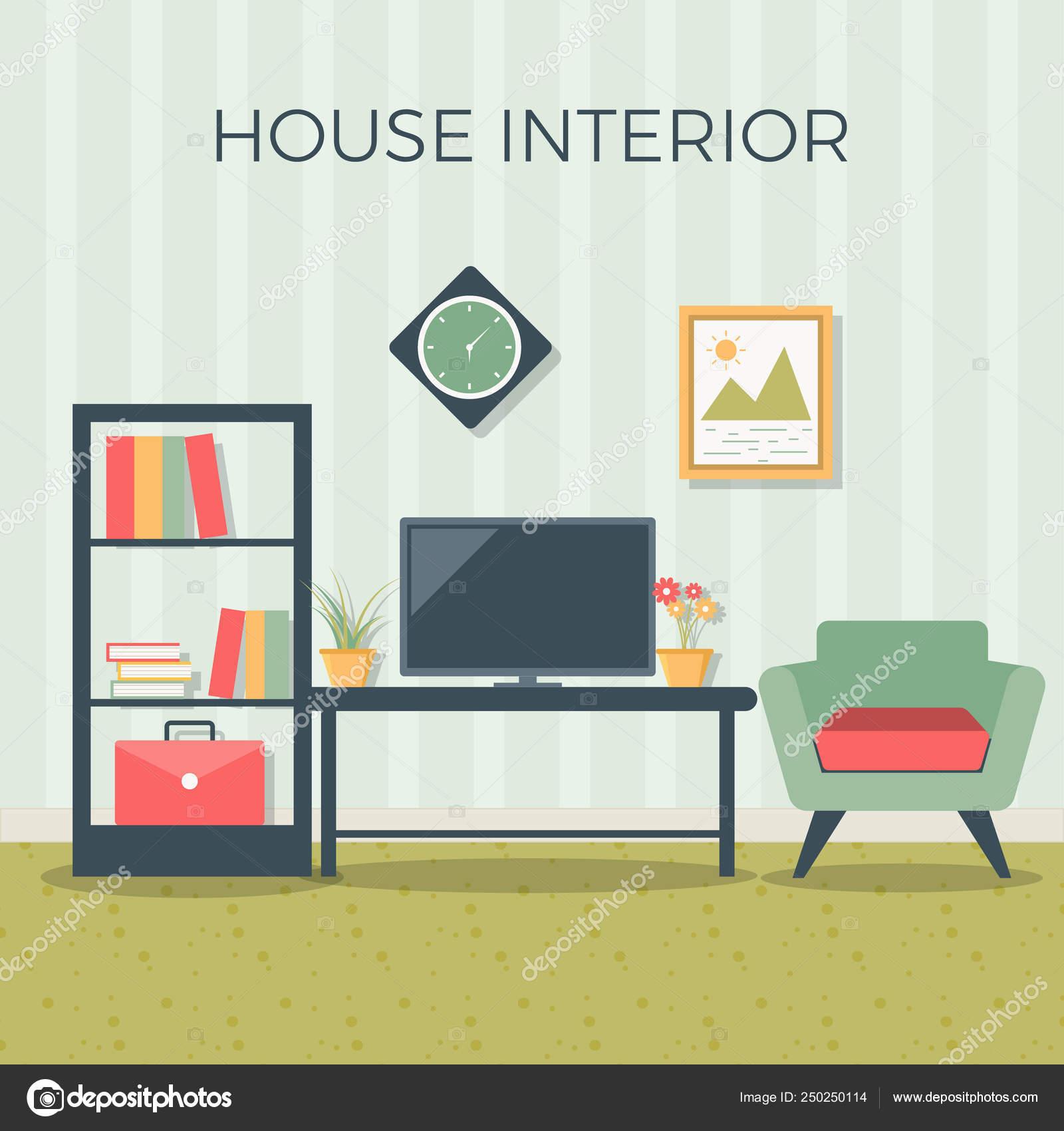 Living room interior design with furniture: sofa, bookcase ...