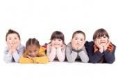 malé děti, pózování, izolované v bílém