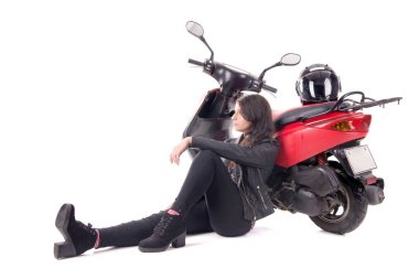young woman with motorcycle isolated in white