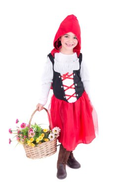 little girl posing isolated in white on halloween