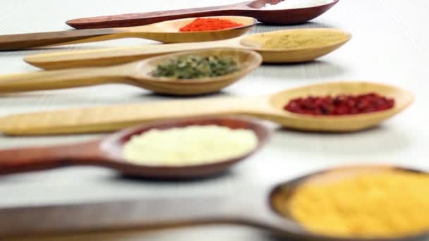 camera selective focus over assortment of spices in wooden spoons, white background