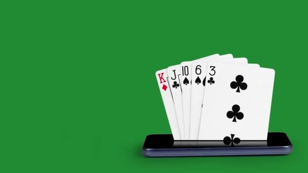smartphone s pokerními kartami, karetní hra vysoká karta, poker karty, které pocházejí z obrazovky mobilního telefonu, s klíčem Luma