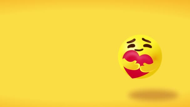 Care emoticon - yellow face with big open bright eyes hugging a red heart with both hands showing care, yellow background