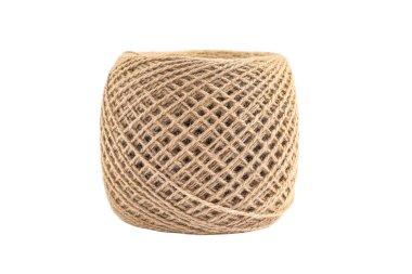 Spool of hemp rope isolated on white background