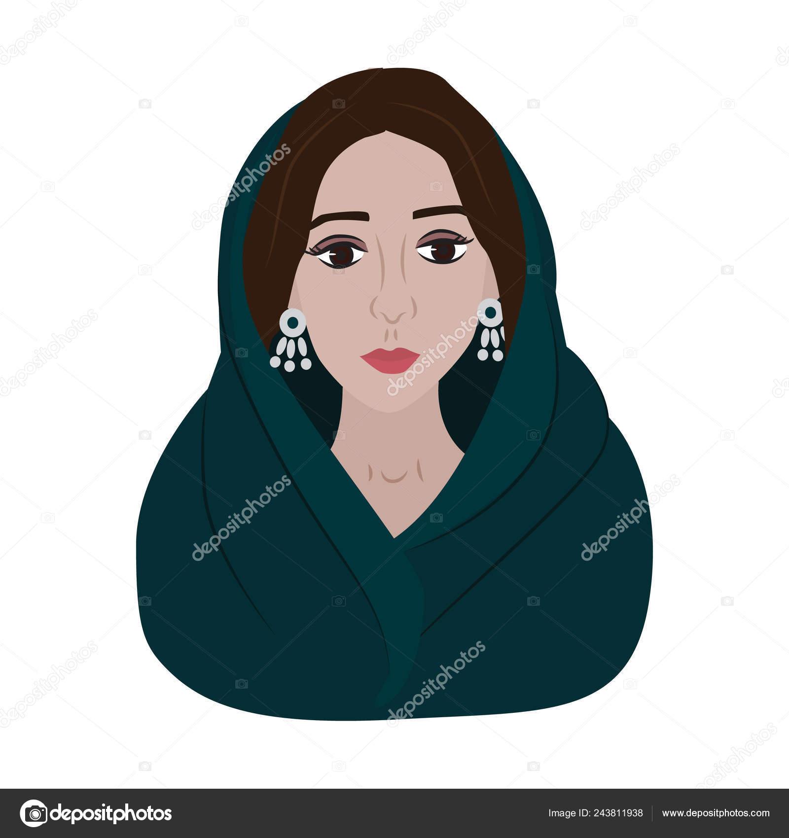 Beautiful Arabic Woman Dark Hair Brown Eyes White Background Vector