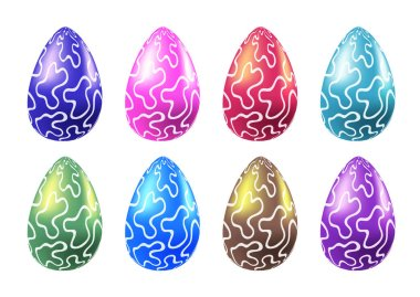 Set of colorful  vector realistic eggs. Traditional religion seasonal food illustrations collection for Easter. Gold, pink, blue, green, red, violet, red, purple, turquoise dragon eggs pack icon