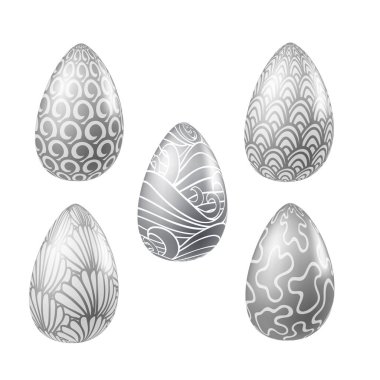 Set of silver vector realistic eggs with different abstract pattern. Traditional religion seasonal food illustrations collection for Easter. Ornaments with sea waves, blobs, bushes, shells, swirls icon
