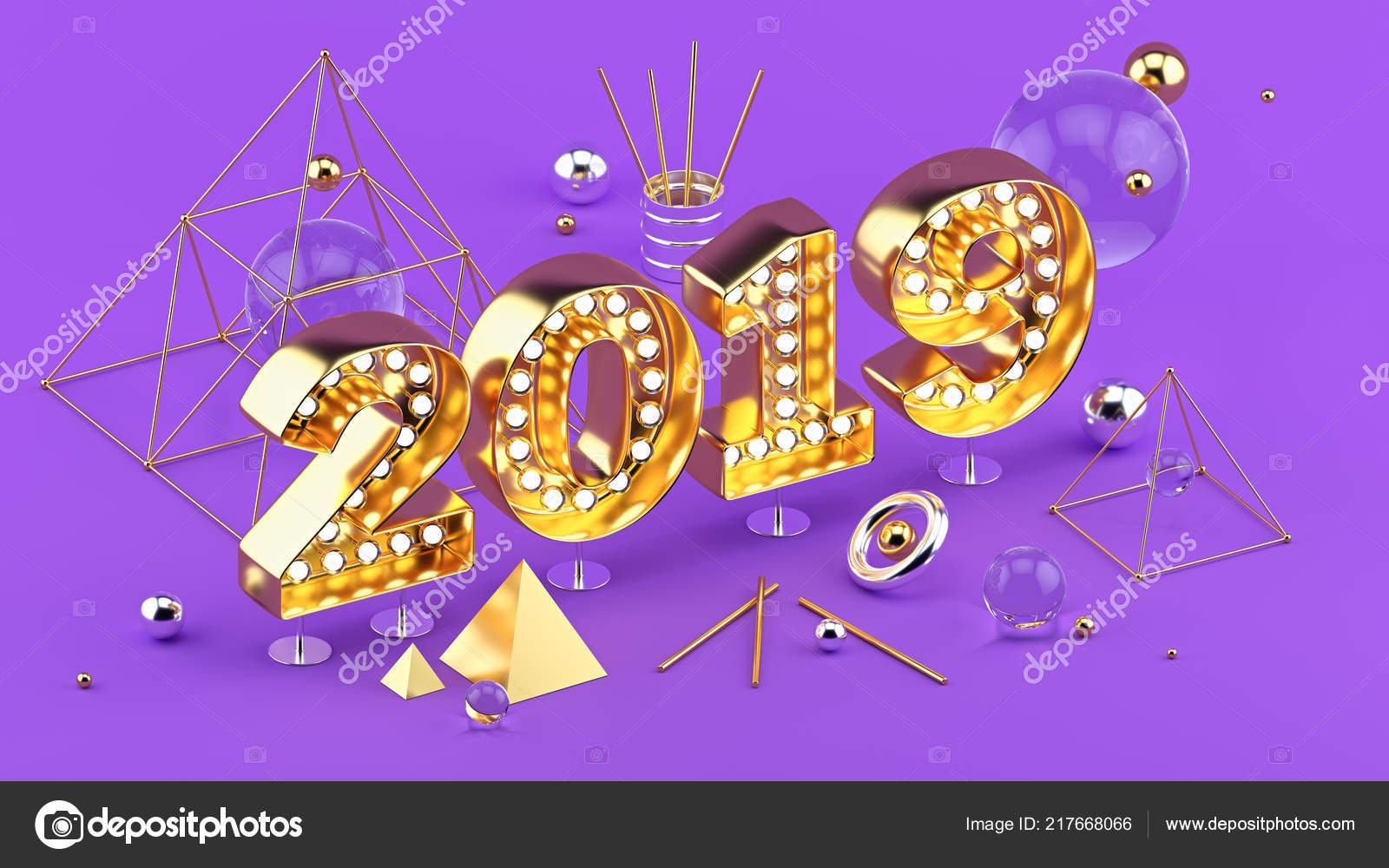 2019 happy new year isometric 3d illustration gold bright numbers 2019 with sparkling light bulbs trendy new year greeting card or poster 3d rendering