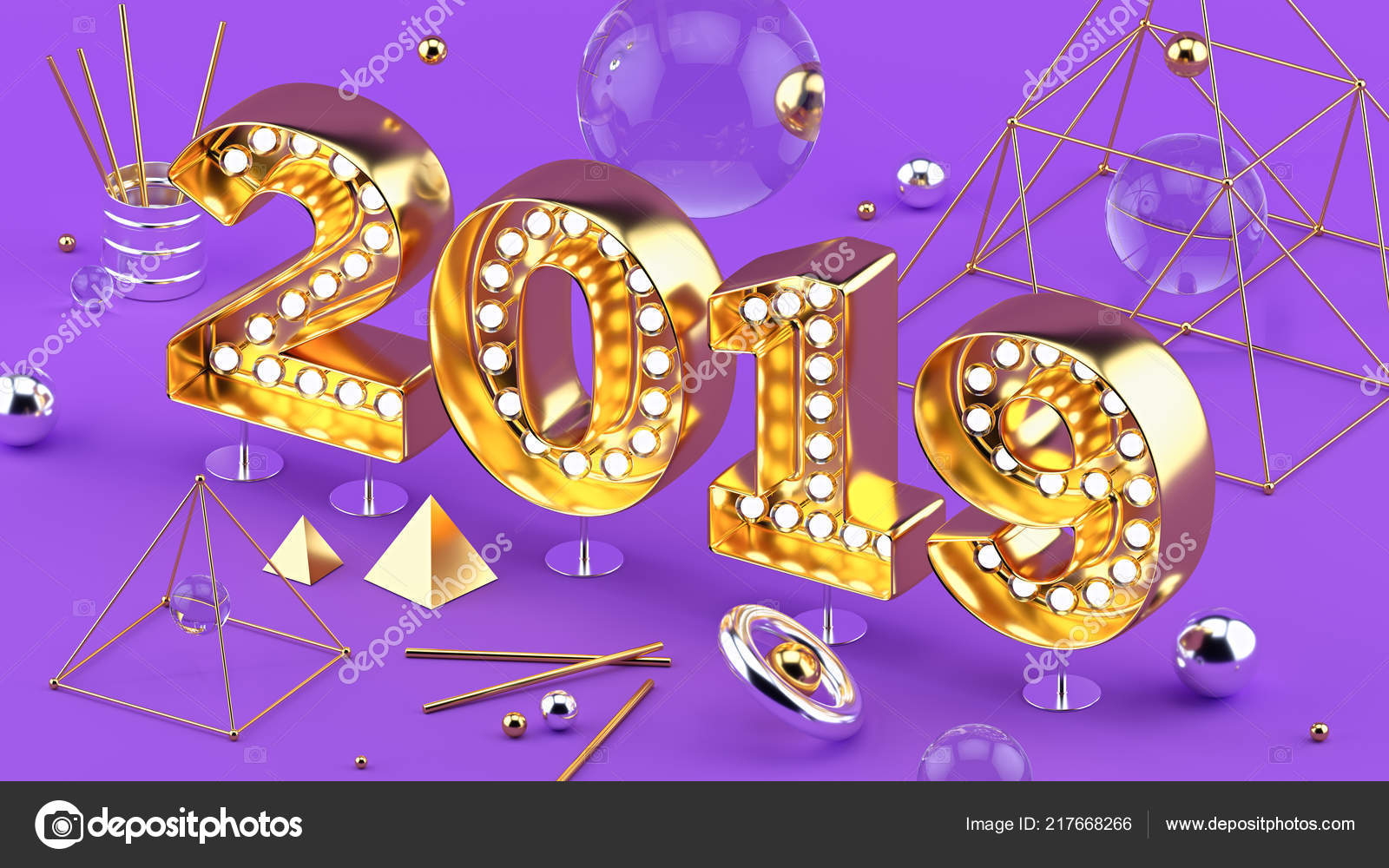 2019 happy new year isometric closeup 3d installation bright ultraviolet festive background with 3d numbers of 2019 new year
