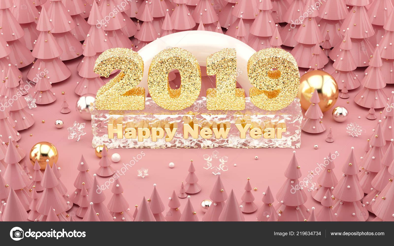 Feliz Año Nuevo 2019 Millennial Rosa Color Ilustración 3d