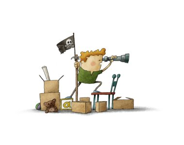 Boy pretending to be a pirate looks through a spyglass